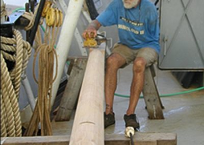 Jack Risser working on the older Top Mast